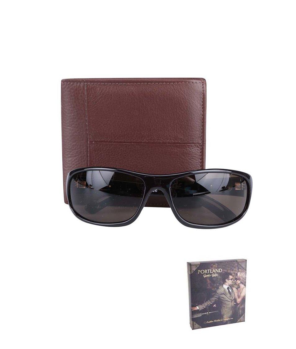 Sada s hnědou peněženkou a hnědými slunečními brýlemi Portland