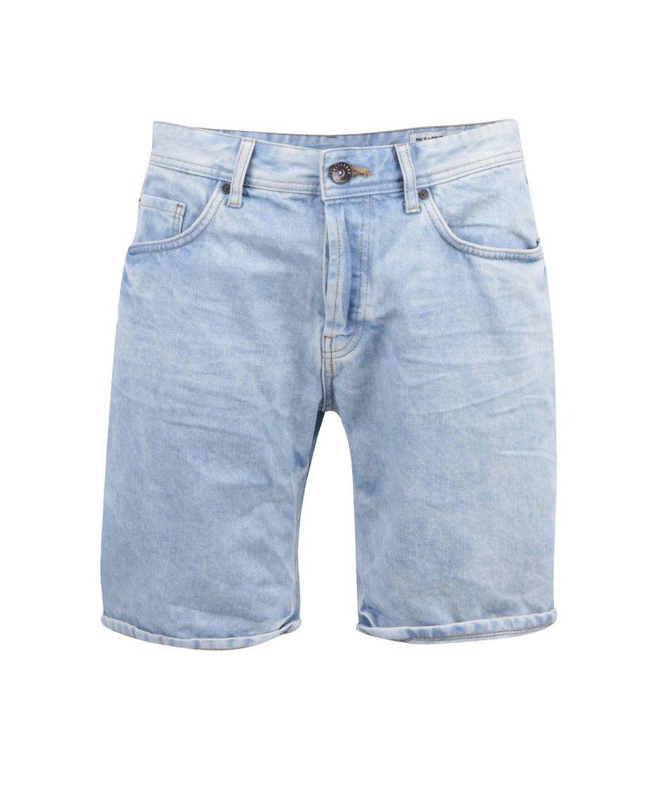 Světle modré džínové vintage kraťasy ONLY & SONS Avi