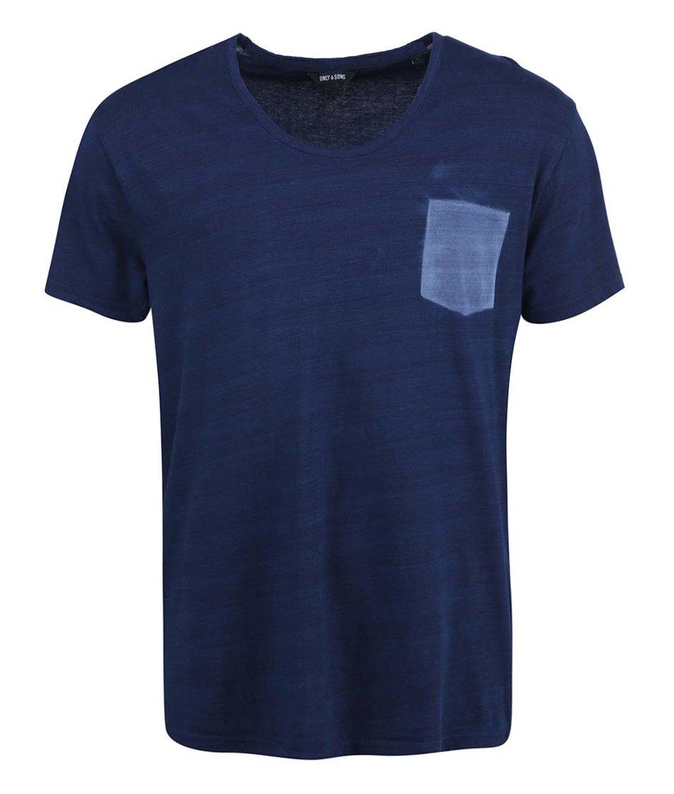 Tmavě modré triko s designem kapsy ONLY & SONS Lathan