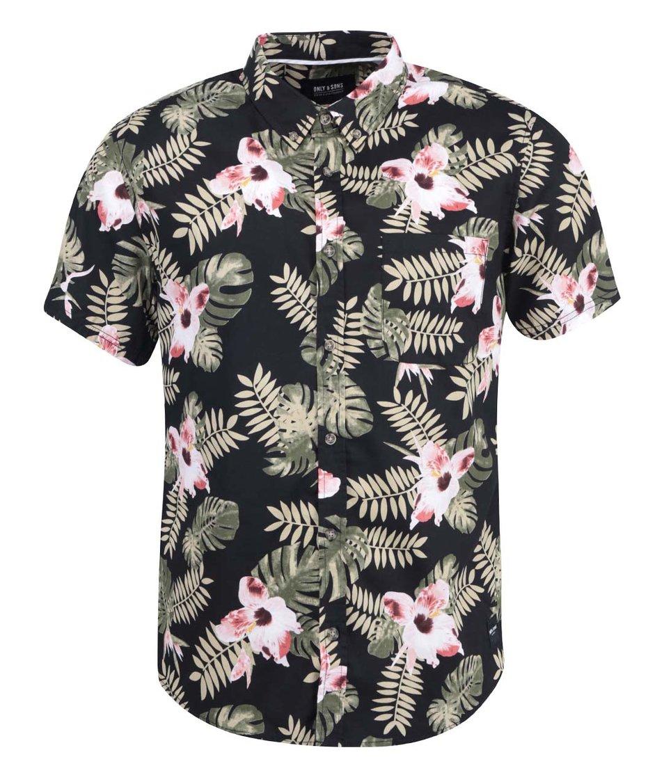 Černá košile s květovaným vzorem ONLY & SONS Vilhelm