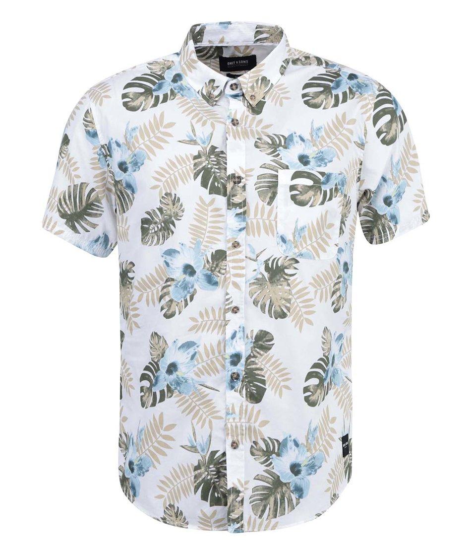 Bílá košile s květovaným vzorem ONLY & SONS Vilhelm