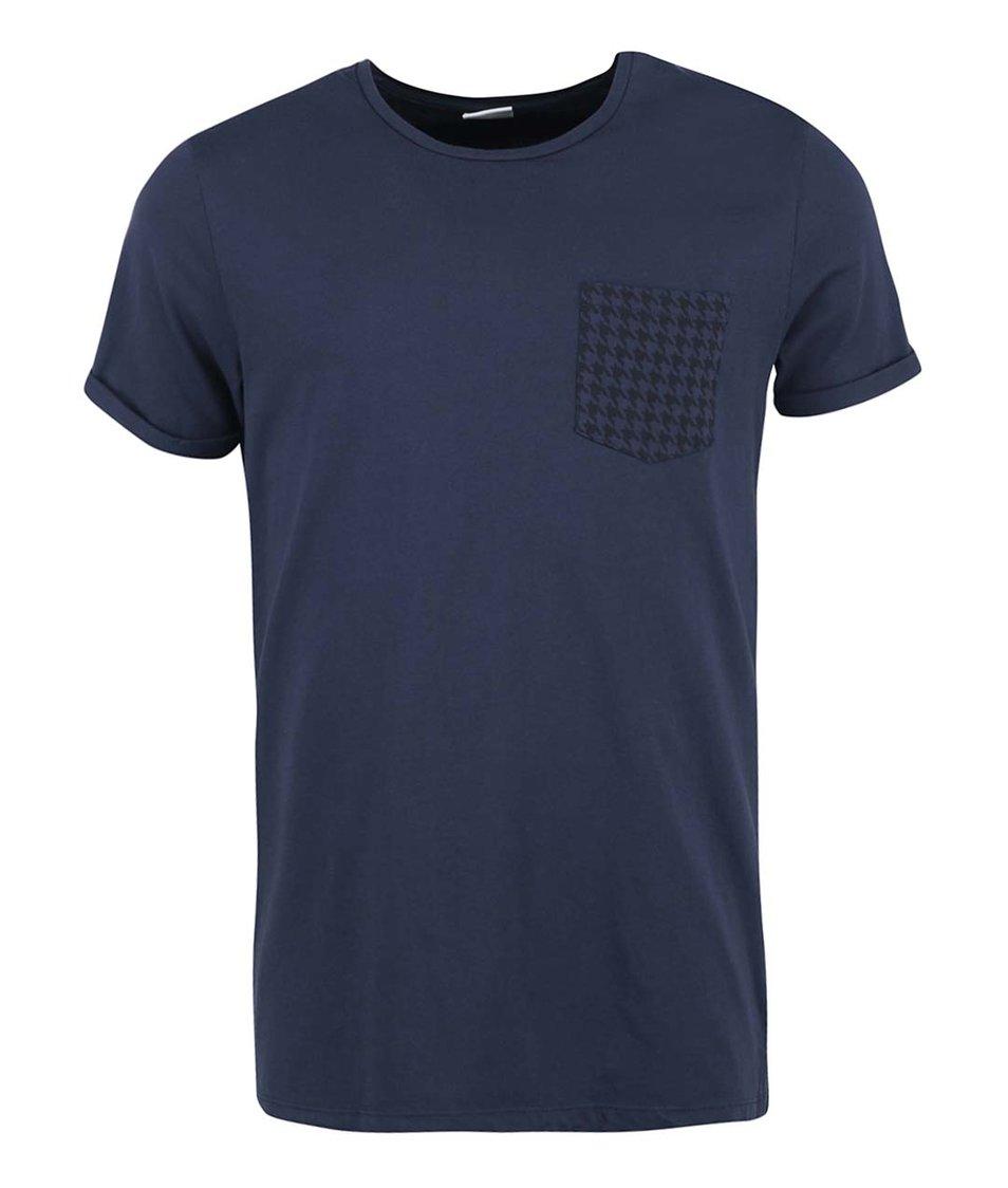 Tmavě modré triko s náprsní kapsou Jack & Jones Glenn