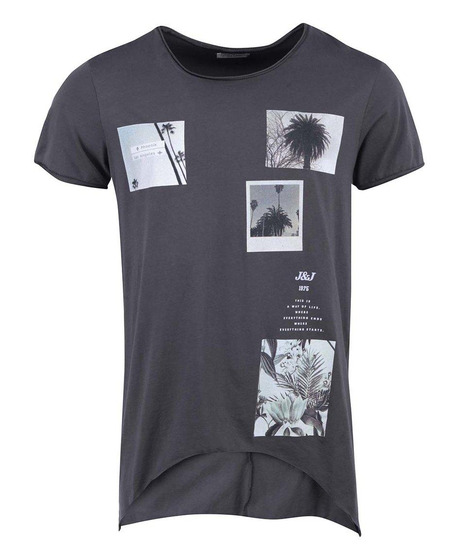 Tmavě šedé triko s potiskem Jack & Jones Tale