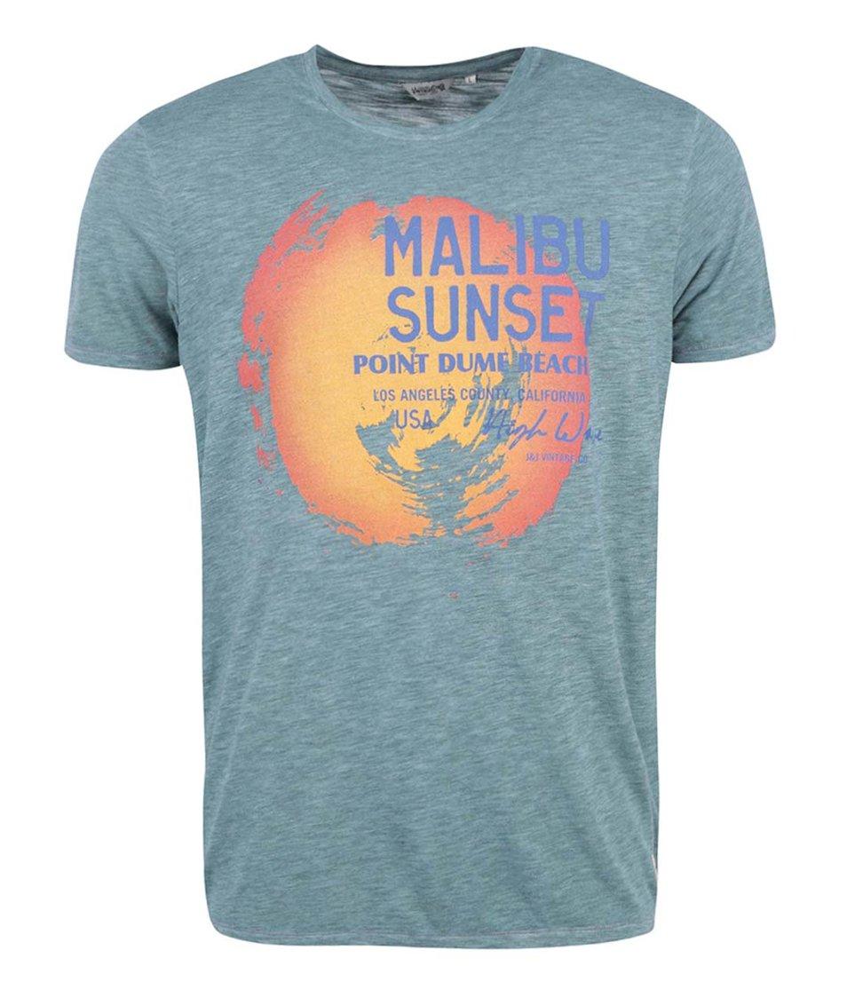 Modrozlené triko s potiskem Jack & Jones Malibu Sunset