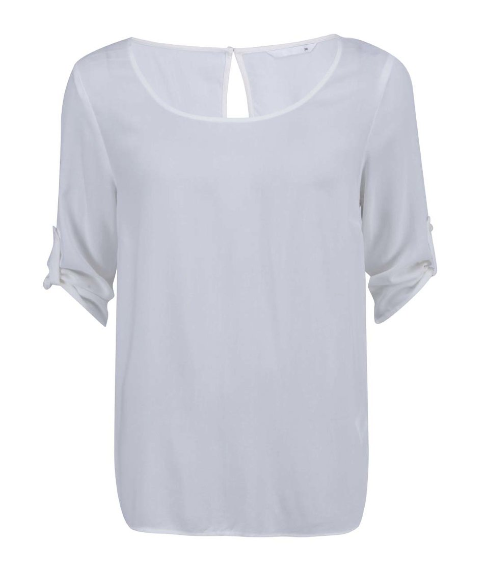 Krémové volnější tričko s 3/4 rukávem ONLY Geggo