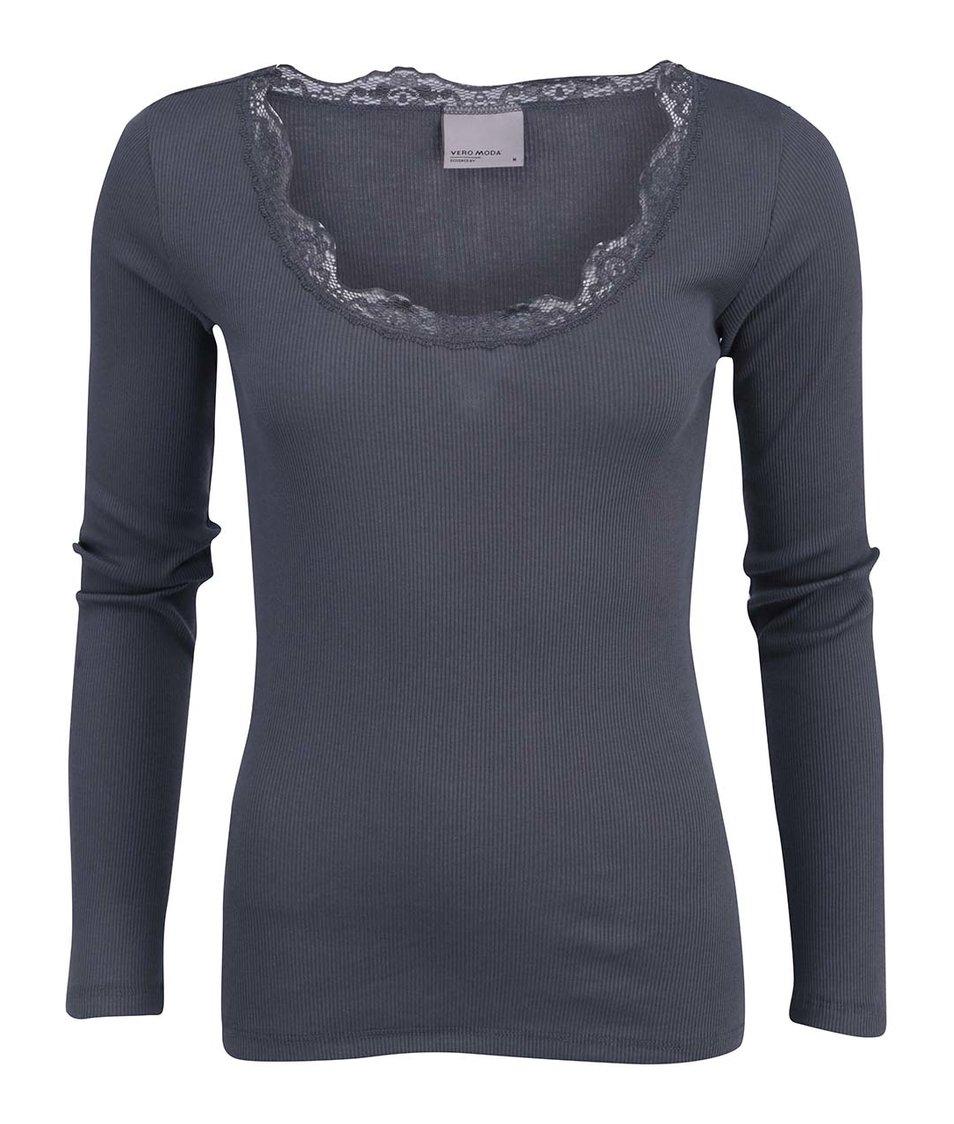 Tmavě šedé tričko s krajkovým výstřihem Vero Moda Lena