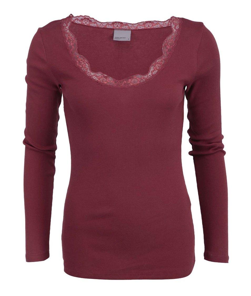 Cihlové tričko s krajkovým výstřihem Vero Moda Lena