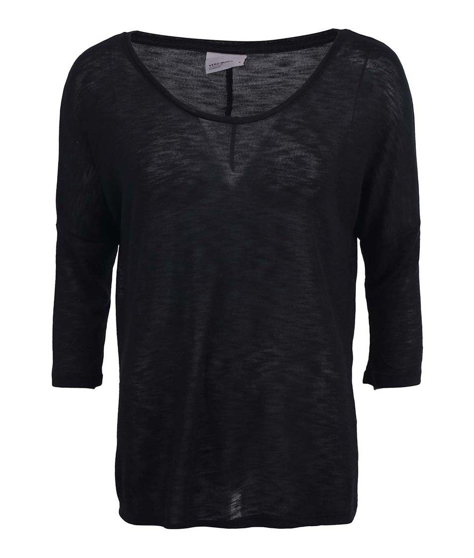 Černé tričko s 3/4 rukávem Vero Moda Anna