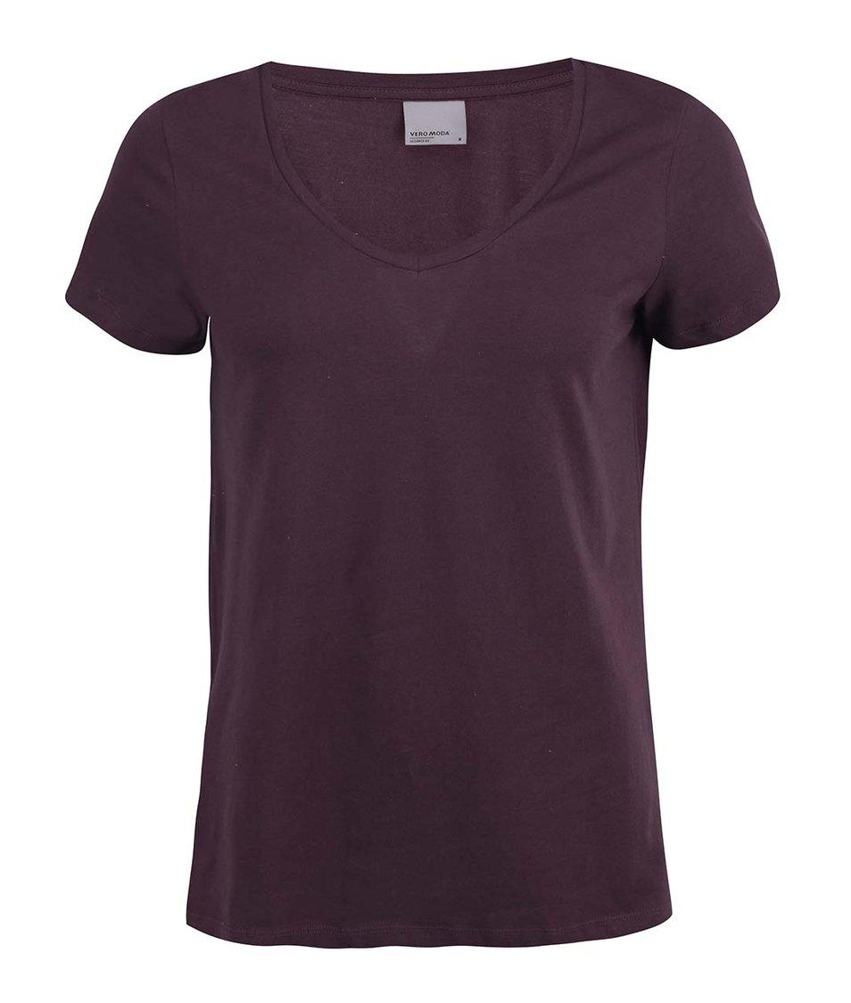 Vínové tričko Vero Moda Molly