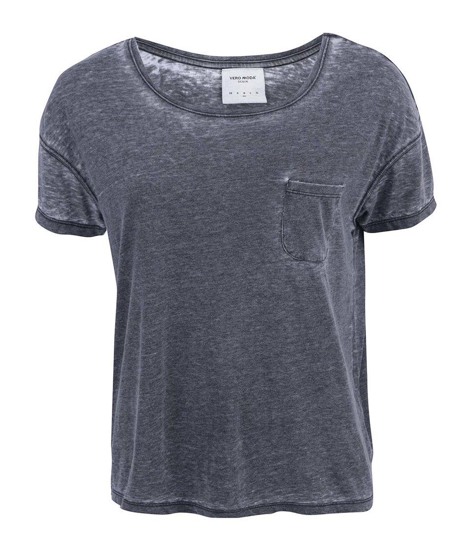 Tmavě šedé tričko s kapsičkou Vero Moda Sofie