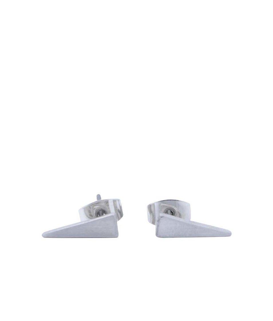 Náušnice ve tvaru trojúhelníku ve stříbrné barvě Pieces Enetta