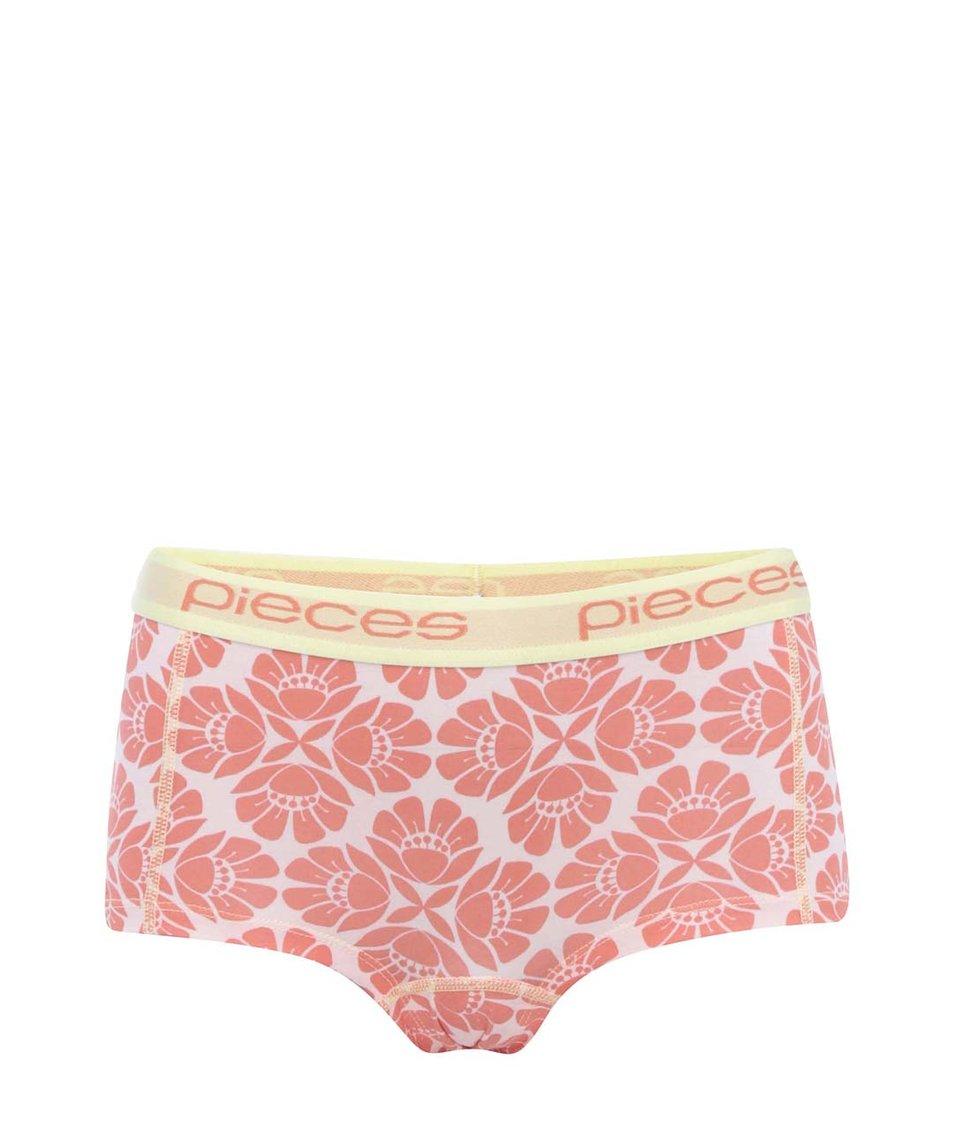 Žluto-korálové květované boxerky Pieces Logo