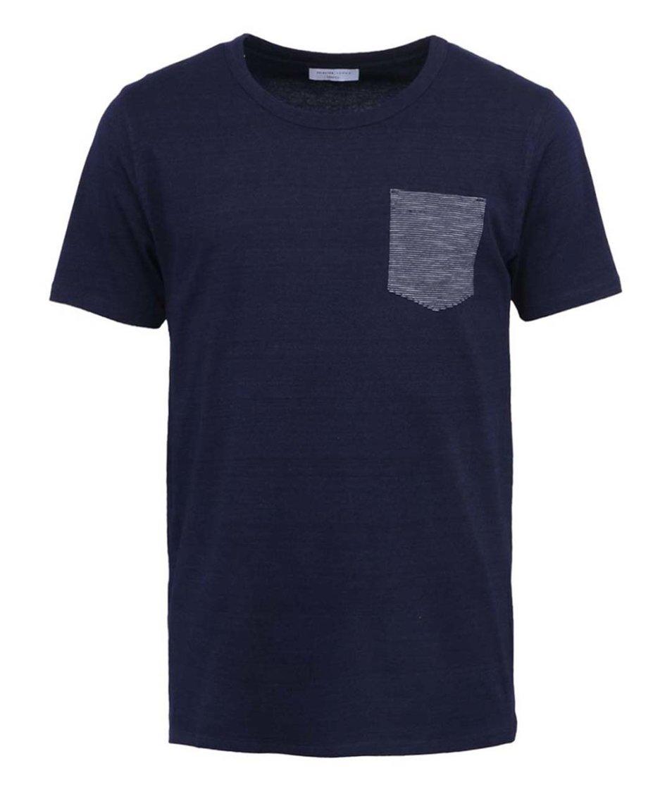 Tmavě modré triko s kapsou Selected Indiana