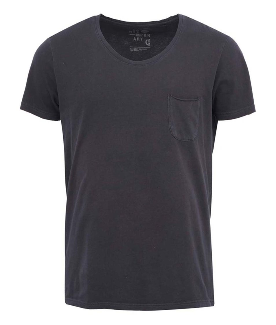 Černé jednoduché triko s náprsní kapsou !Solid