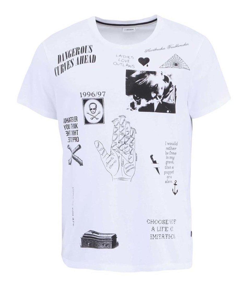 Bílé pánské triko s potiskem J.Lindeberg Sev Rebel