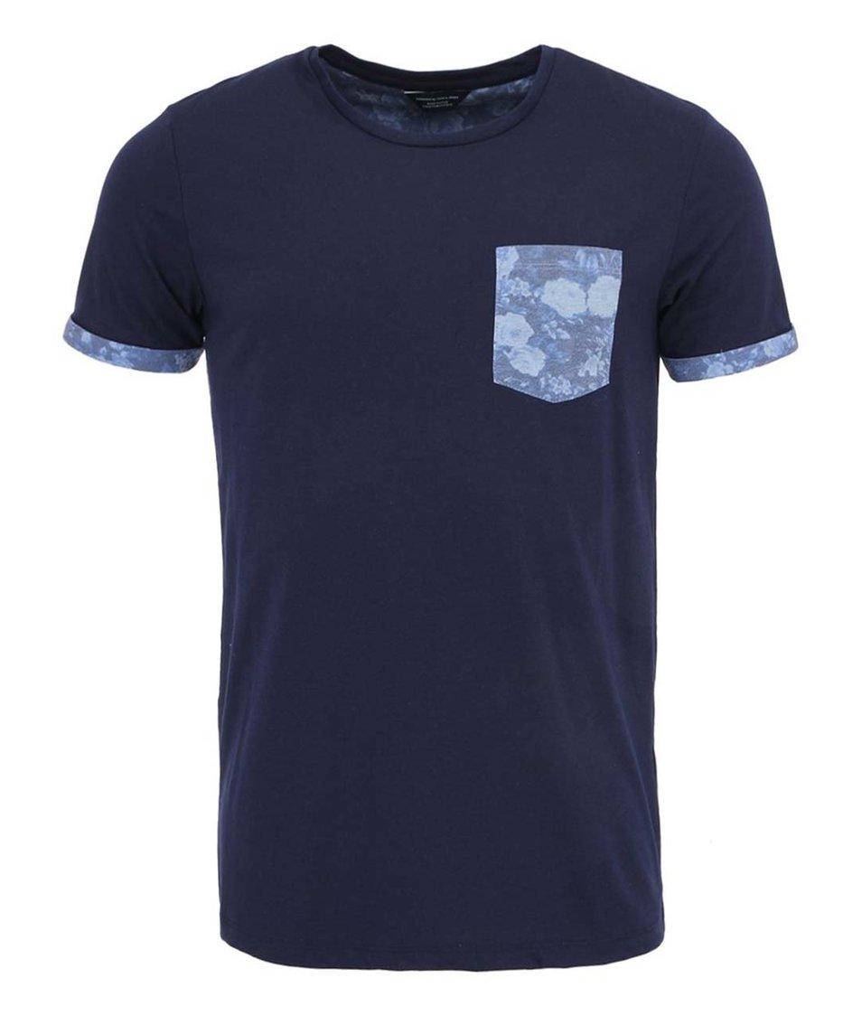 Tmavě modré tričko s náprsní kapsou Jack & Jones Hogan