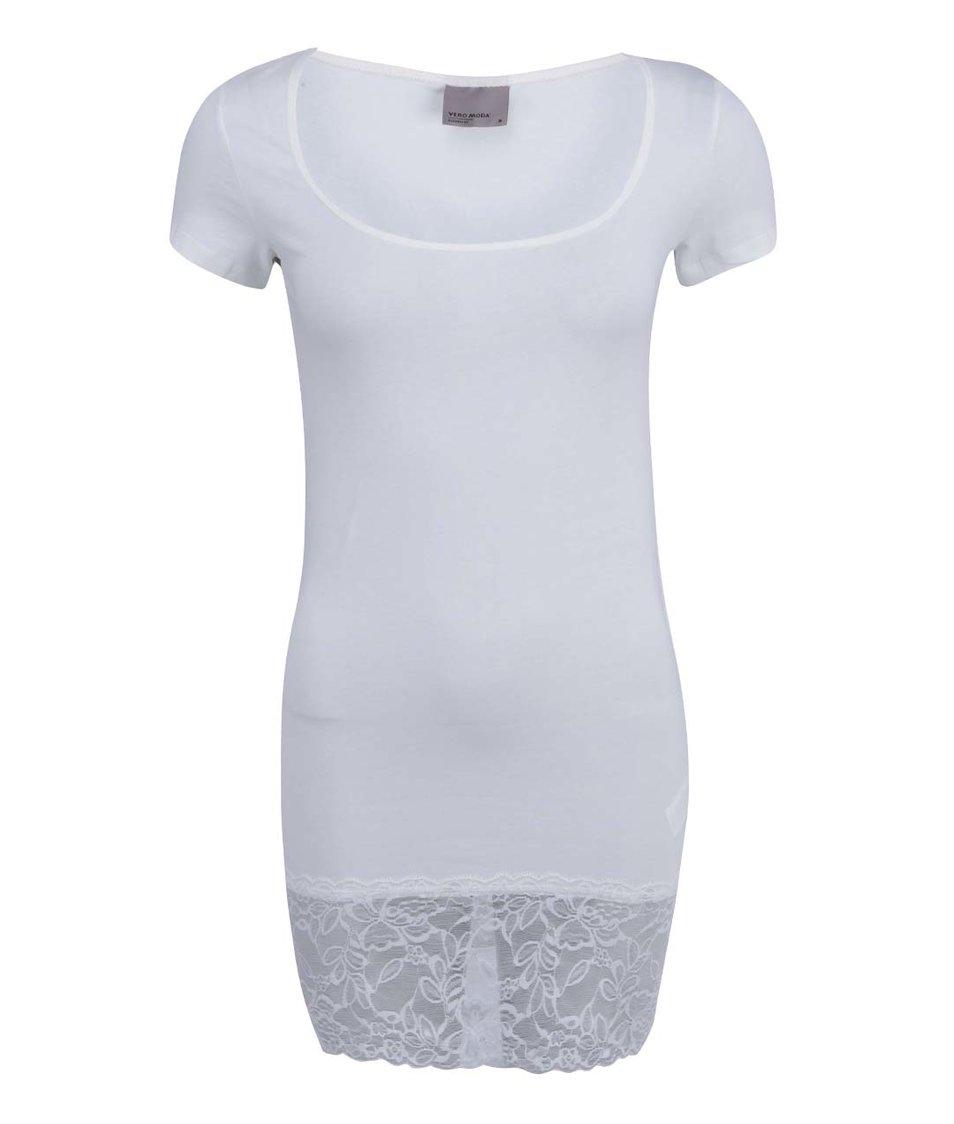 Bílé delší tričko s krajkovaným lemem Vero Moda Maxi My