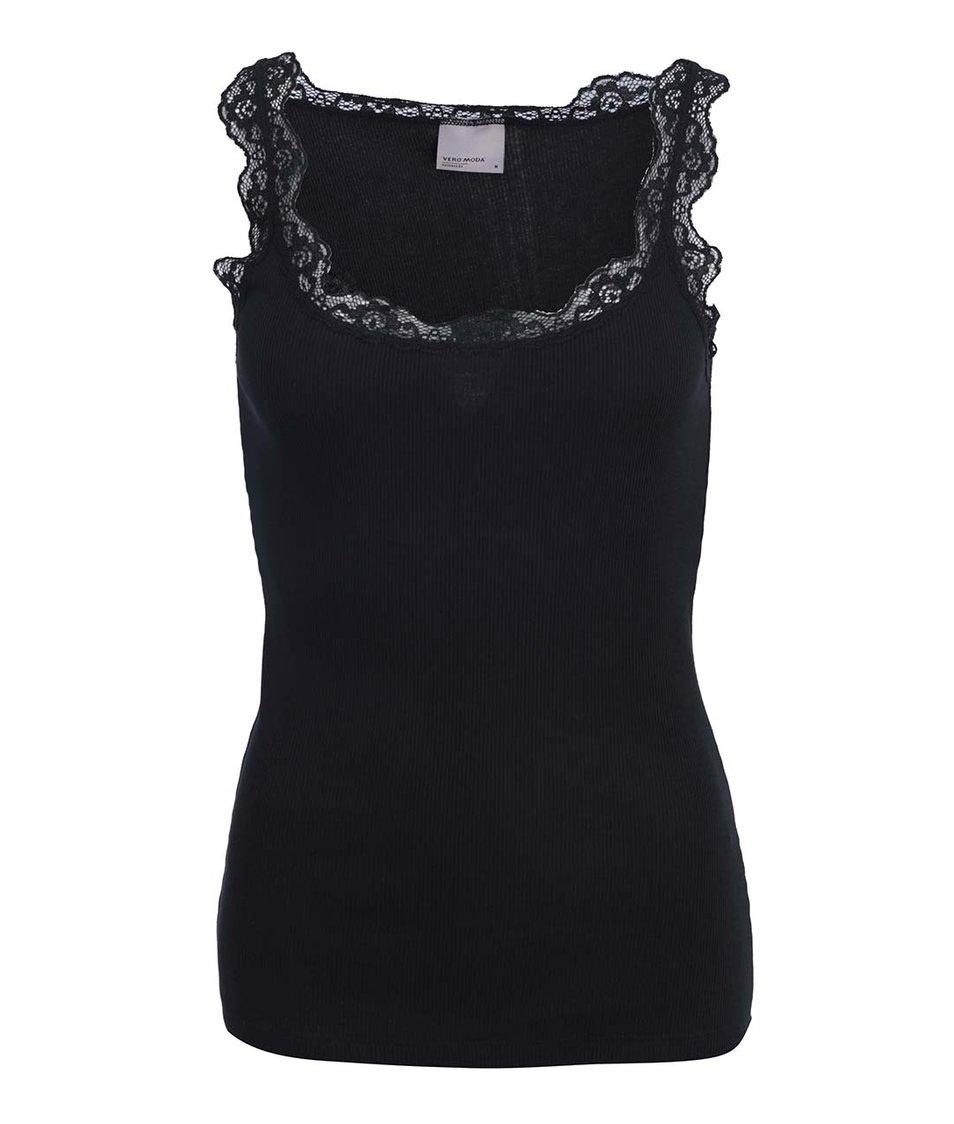 Černé tílko s krajkovanými detaily Vero Moda Lena