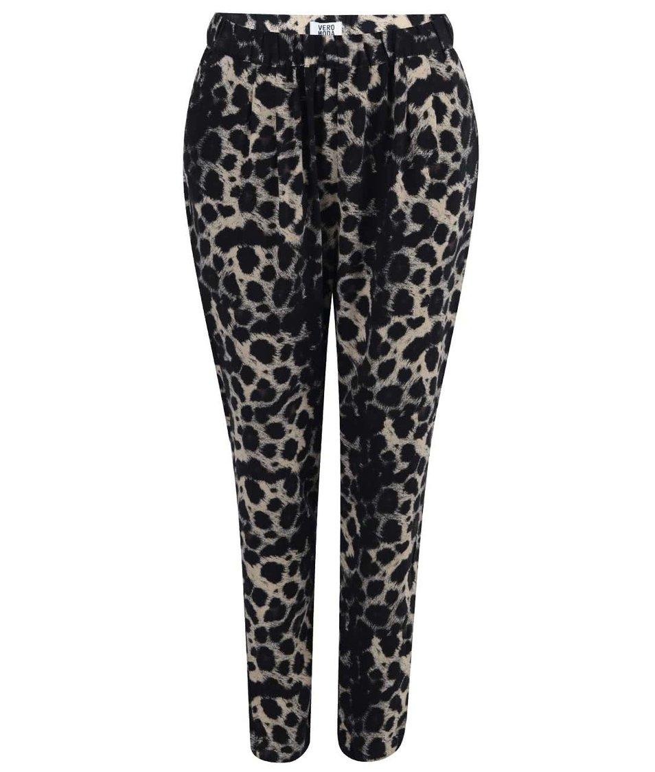 Černé kalhoty s leopardím vzorem Vero Moda Easy