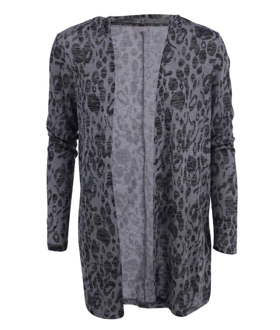 Šedý cardigan s leopardím vzorem Vero Moda Anna