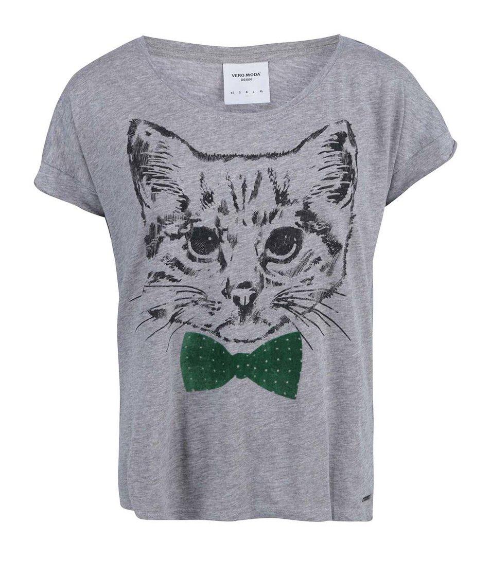 Šedé tričko s kočkou se zeleným motýlkem Vero Moda Pet Cat