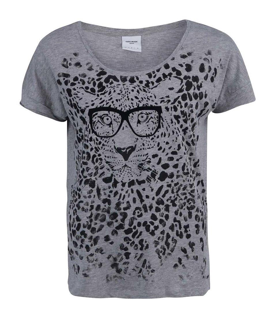 Šedé tričko s tygrem s brýlemi Vero Moda Pet Cat