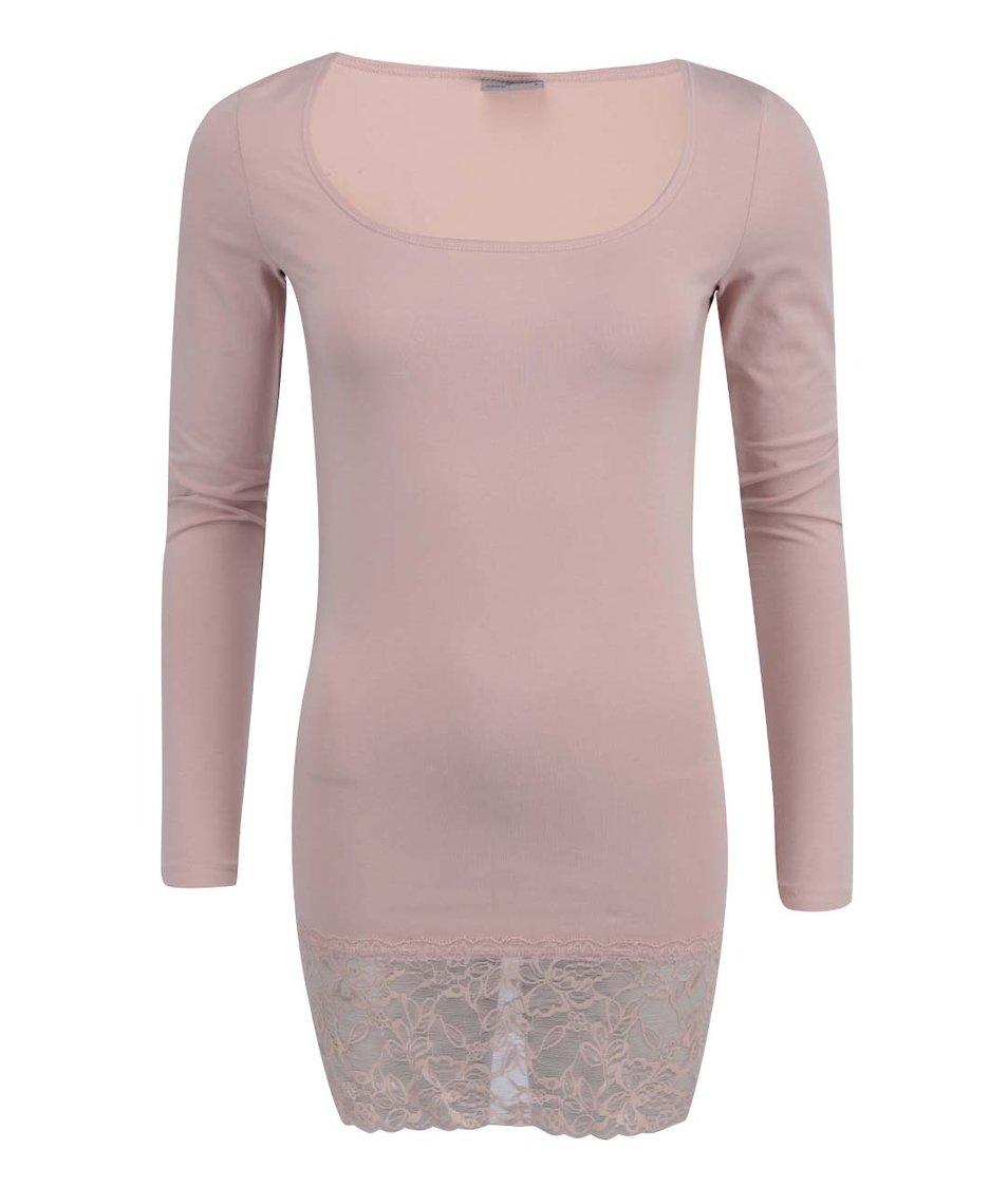 Tělové tričko s krajkovaným lemem Vero Moda Maxi My