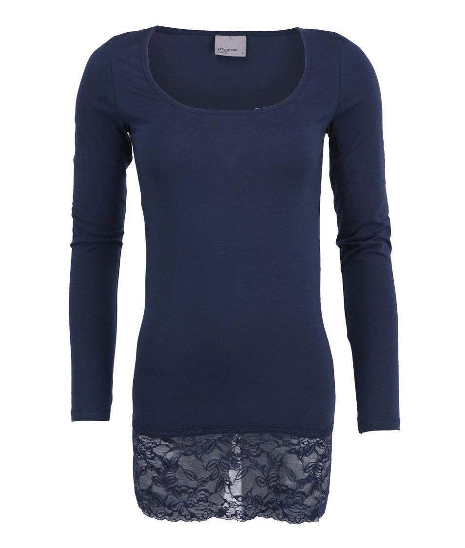 Tmavě modré triko s krajkovaným lemem Vero Moda Maxi My