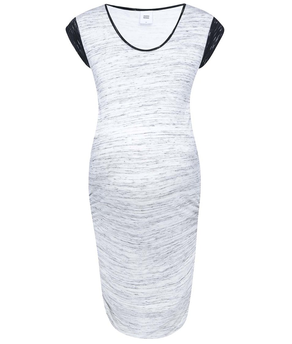 Bílé těhotenské šaty s černo-šedým žíháním Mama.licious Abana