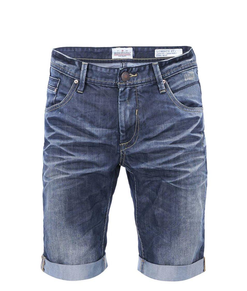 Tmavě modré džínové kraťasy s opraným efektem Shine Original