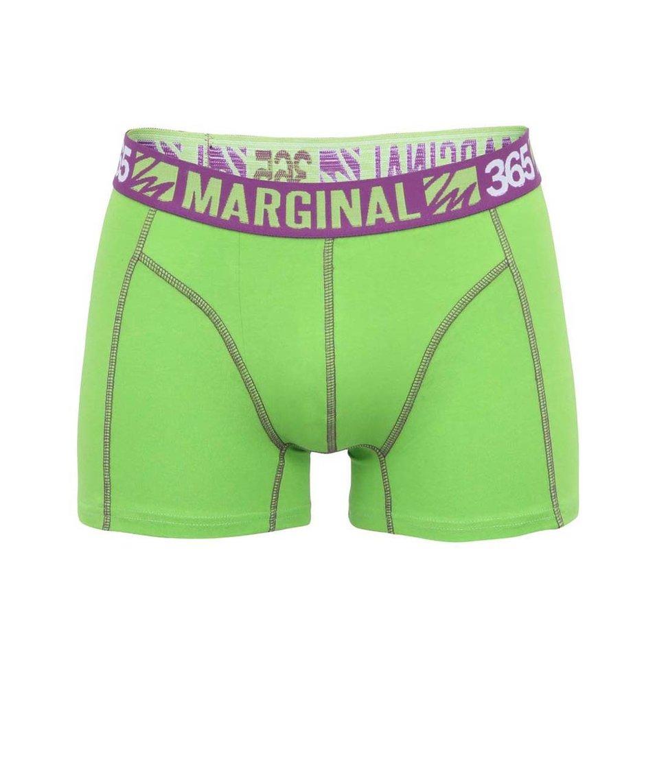 Zelené boxerky s fialovými lemy Marginal