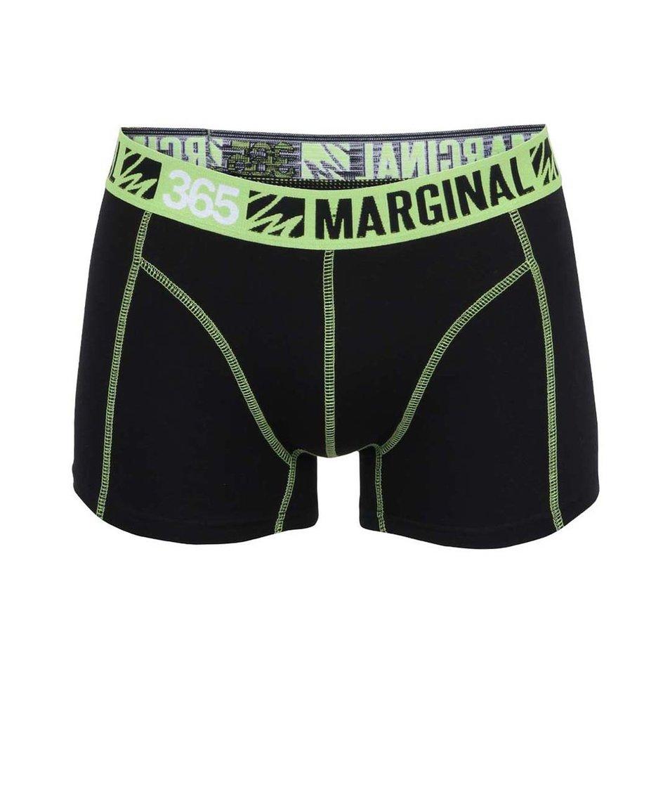 Černé boxerky se zelenými lemy Marginal