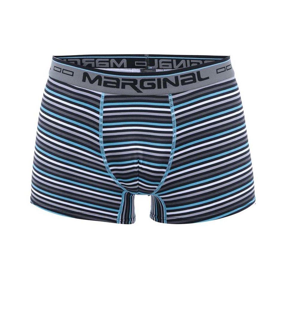 Tyrkysovo-šedé pruhované boxerky Marginal