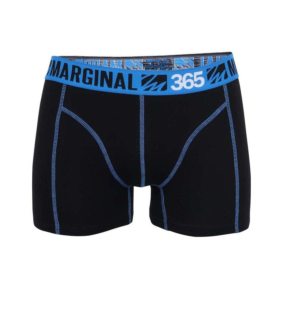 Černé boxerky s modrými lemy Marginal