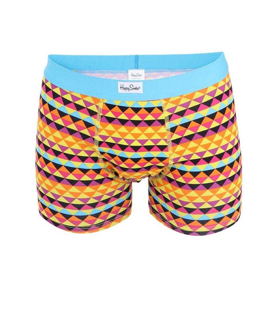 Oranžové boxerky se vzorem Happy Socks Zig Zag
