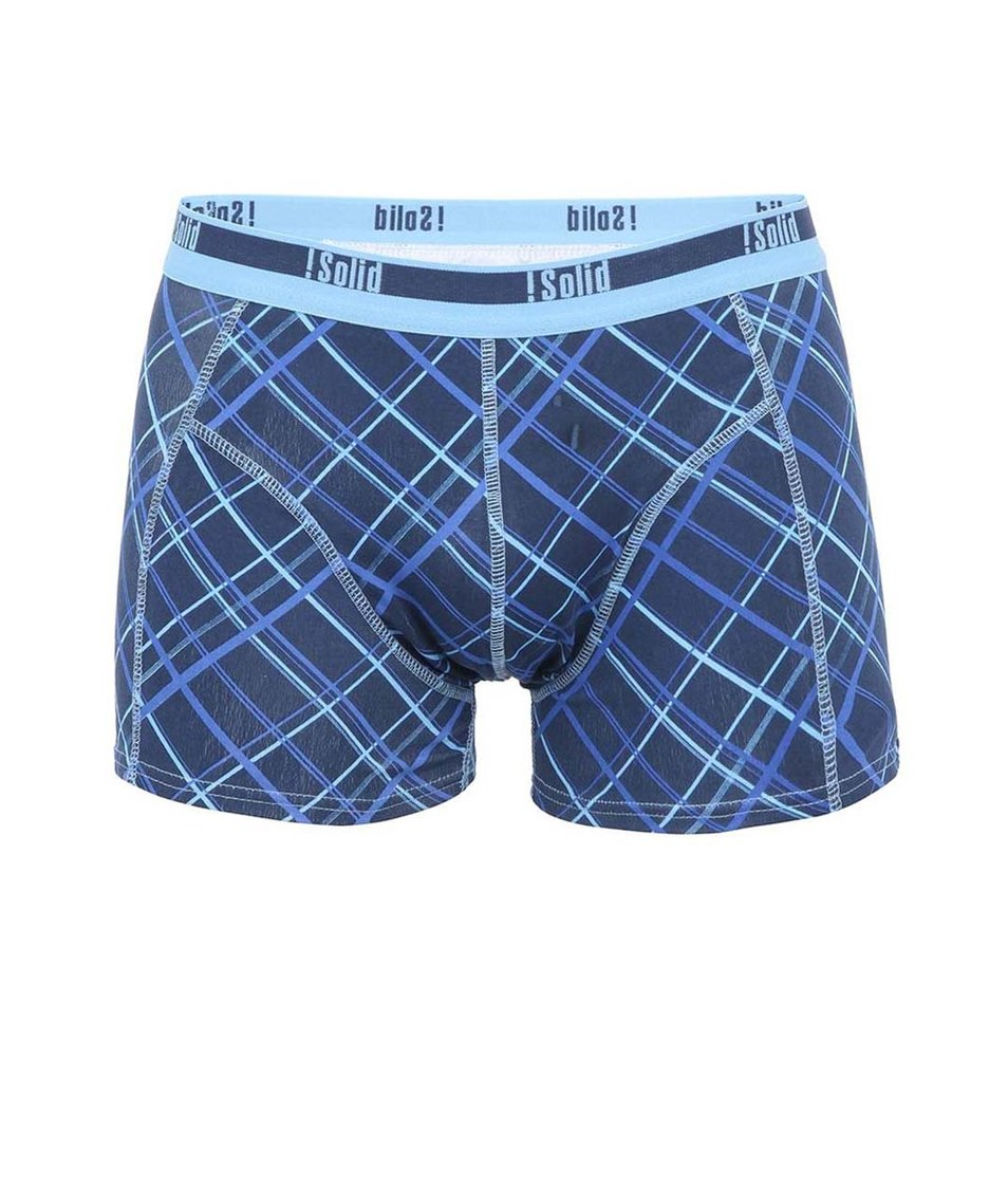 Modré boxerky s mřížkovým vzorem !Solid Jaron