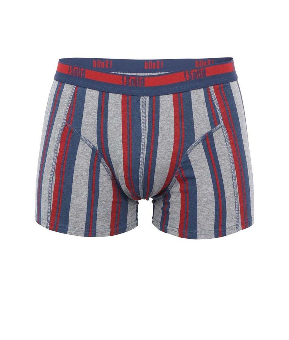 Šedo-červeno-modré boxerky se svislými pruhy !Solid Jie