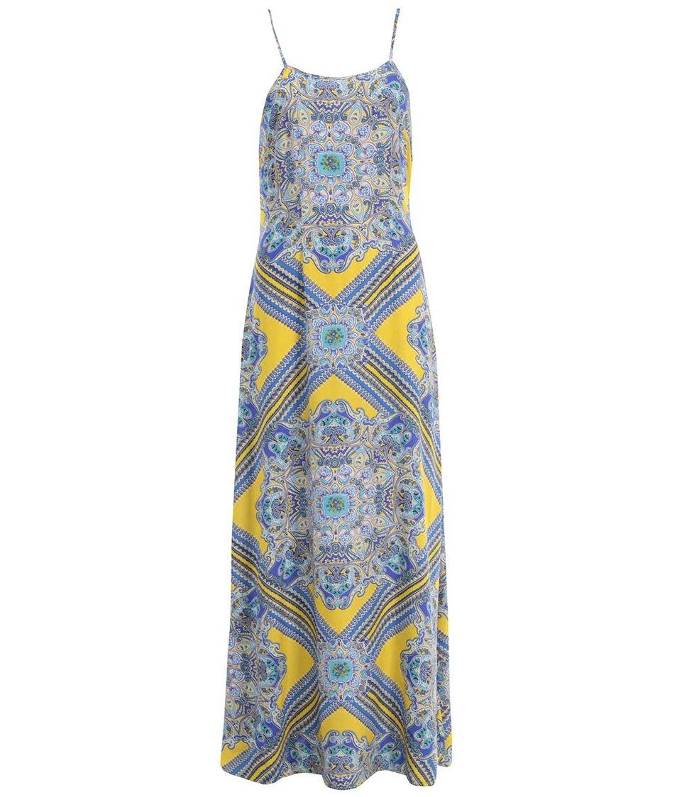 Žluto-modré vzorované maxišaty AX Paris