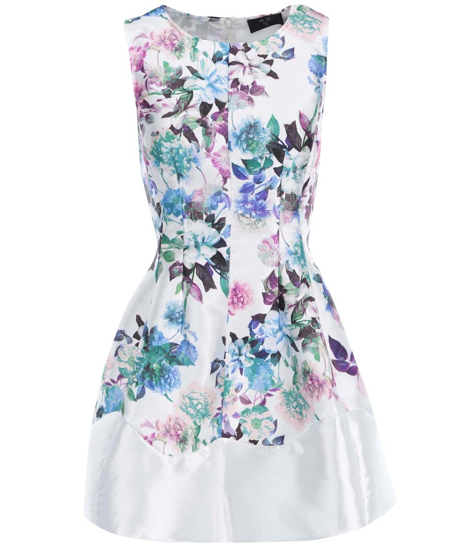 Bílé šaty s barevnými květy AX Paris
