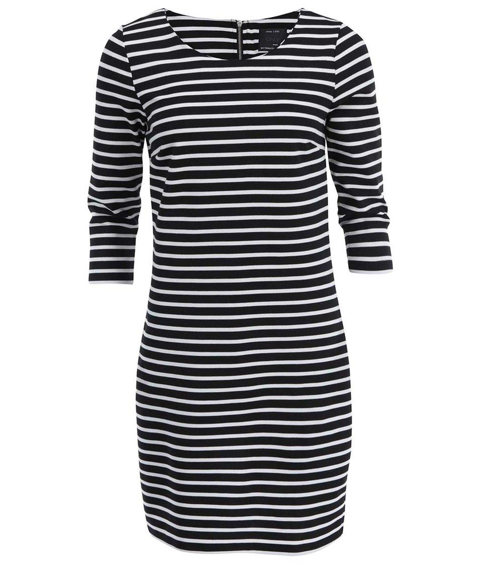 Bílo-černé pruhovné šaty s 3/4 rukávy ONLY Emma
