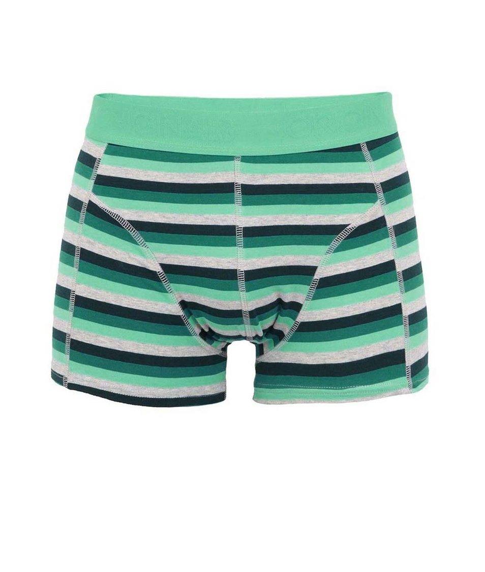 Zelené pruhované boxerky Jack & Jones Ansley