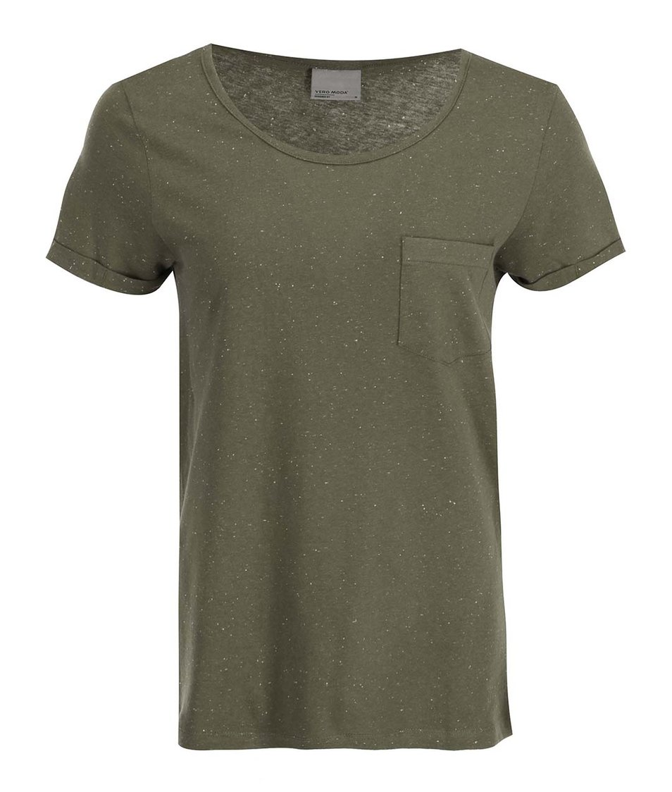 Khaki tričko s kapsičkou Vero Moda Grace