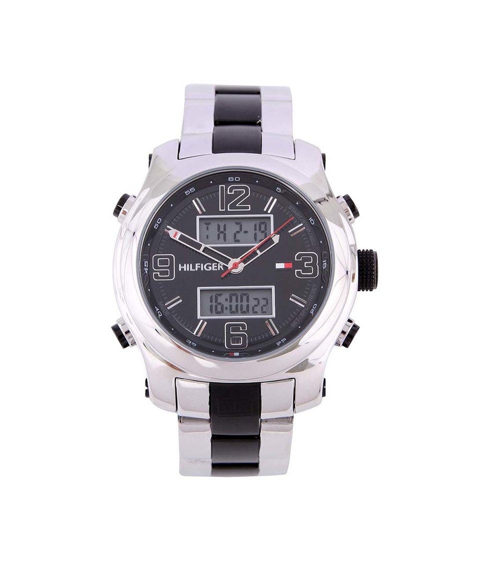 Stříbrno-černé pánské kombinované hodinky z nerezové oceli Tommy Hilfiger