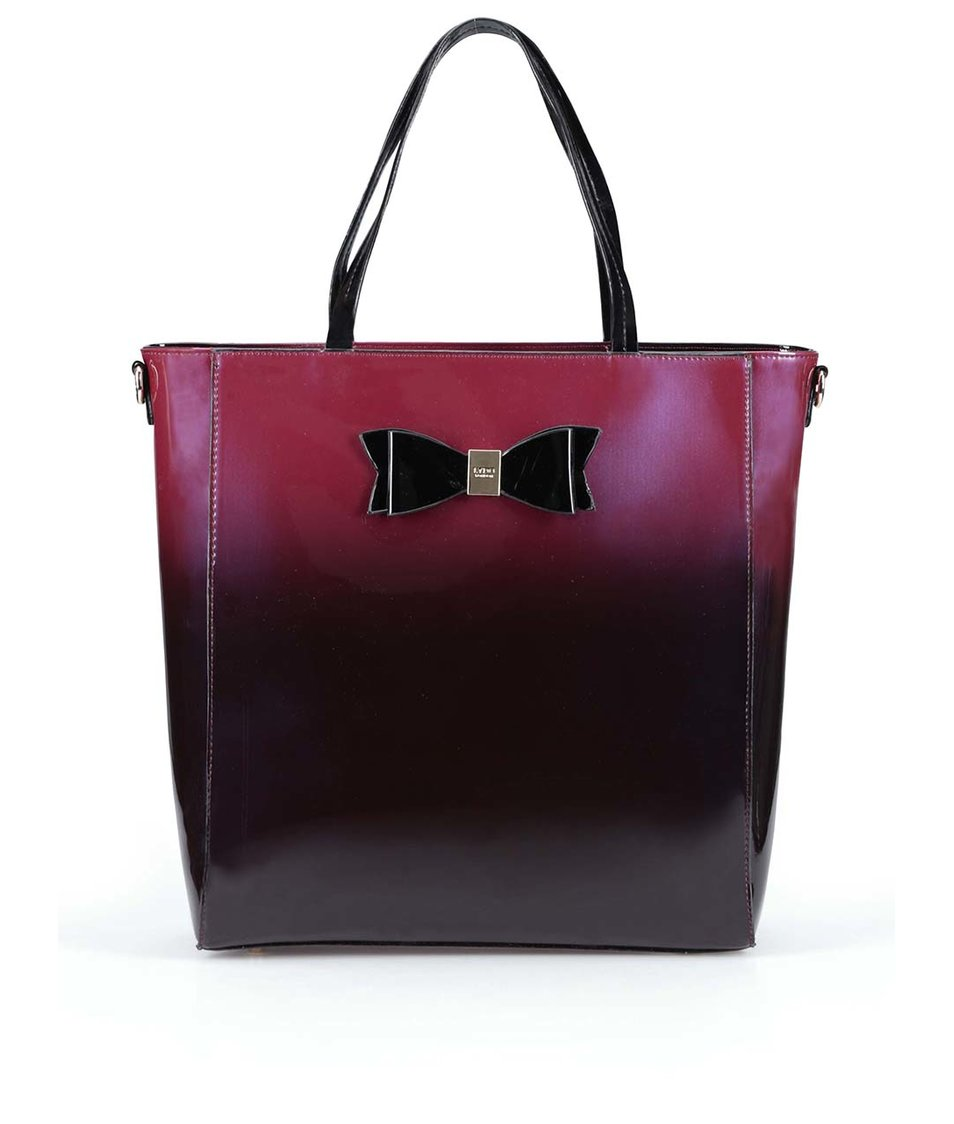 Červeno-černá lesklá kabelka s mašlí LYDC