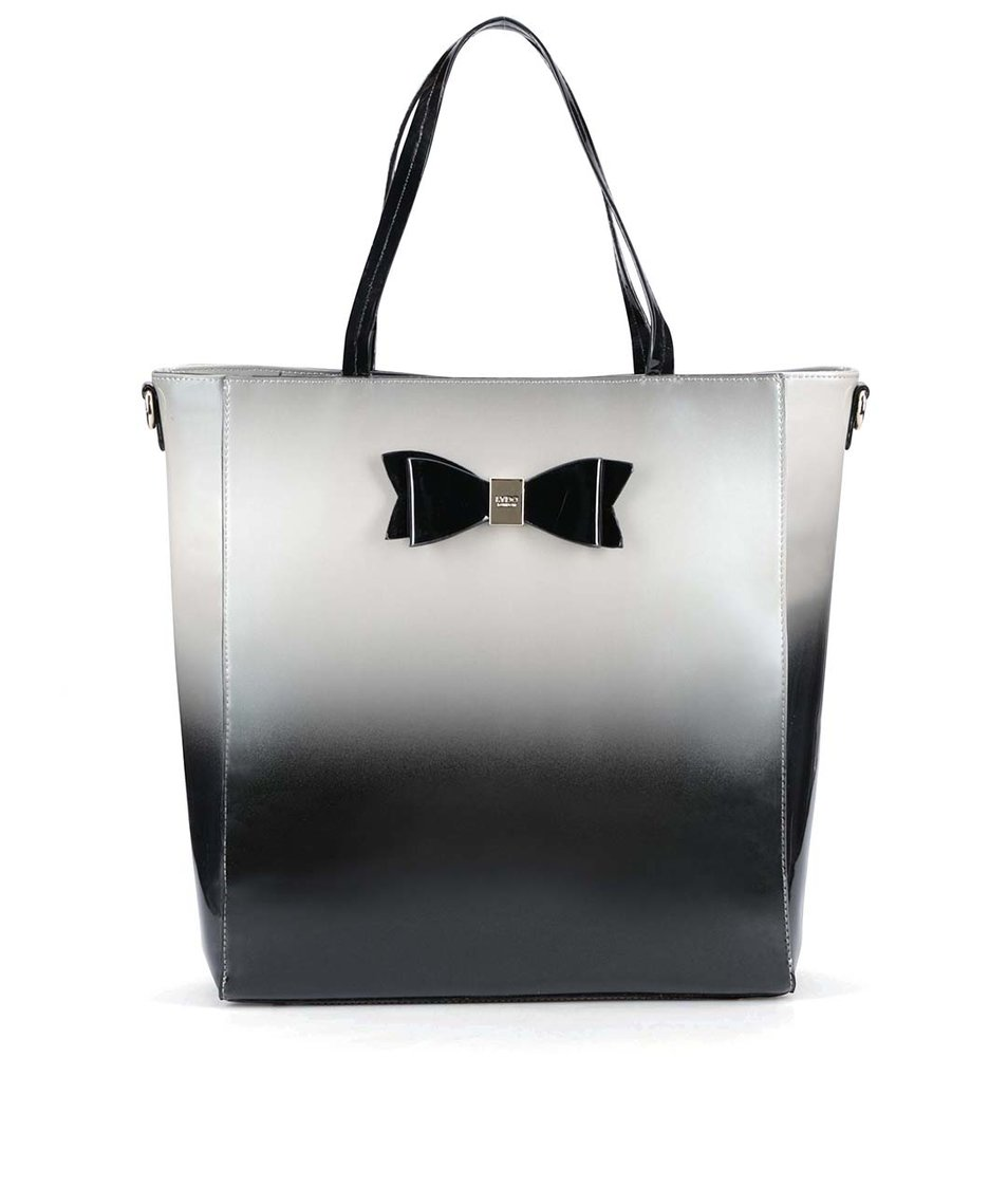 Šedo-černá lesklá kabelka s mašlí LYDC