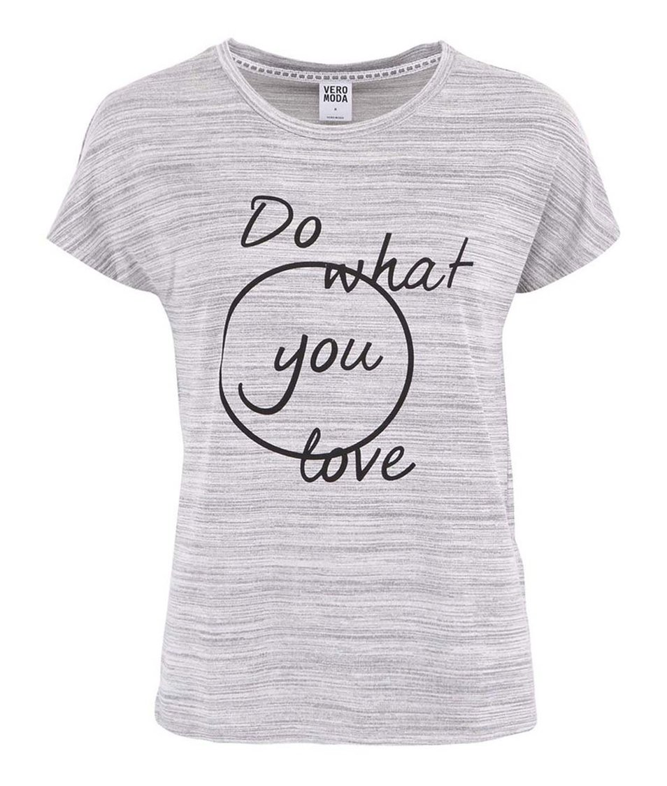 Šedé tričko s potiskem Vero Moda What