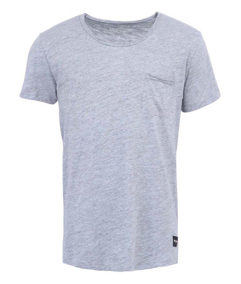 Světle šedé bavlněné triko s kapsou ONLY & SONS Thue