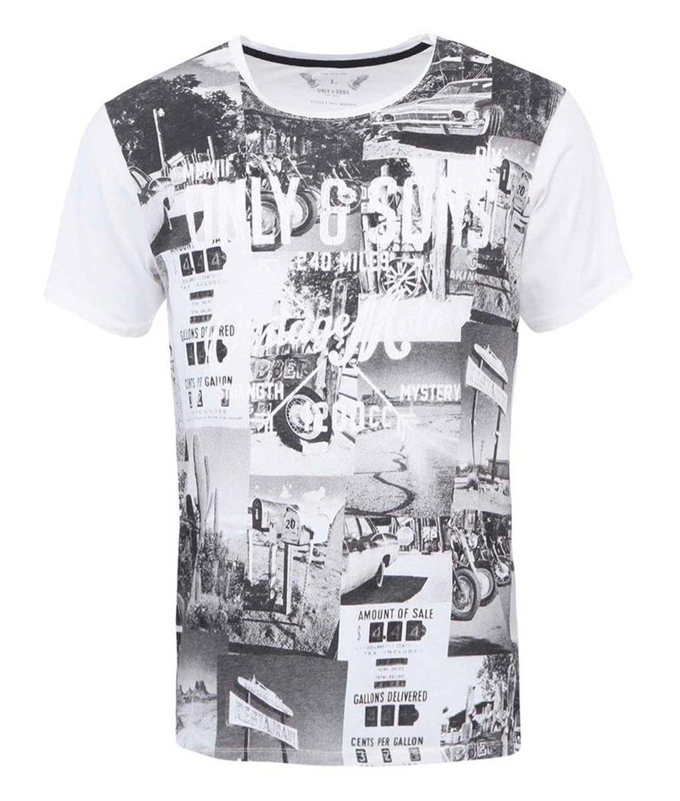 Bílé triko s potiskem ONLY & SONS Trey