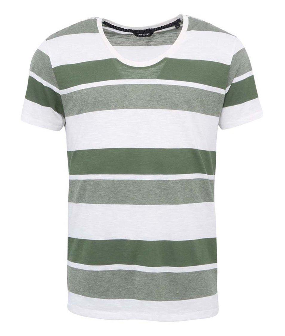 Zeleno-bílé pruhované triko ONLY & SONS Thor