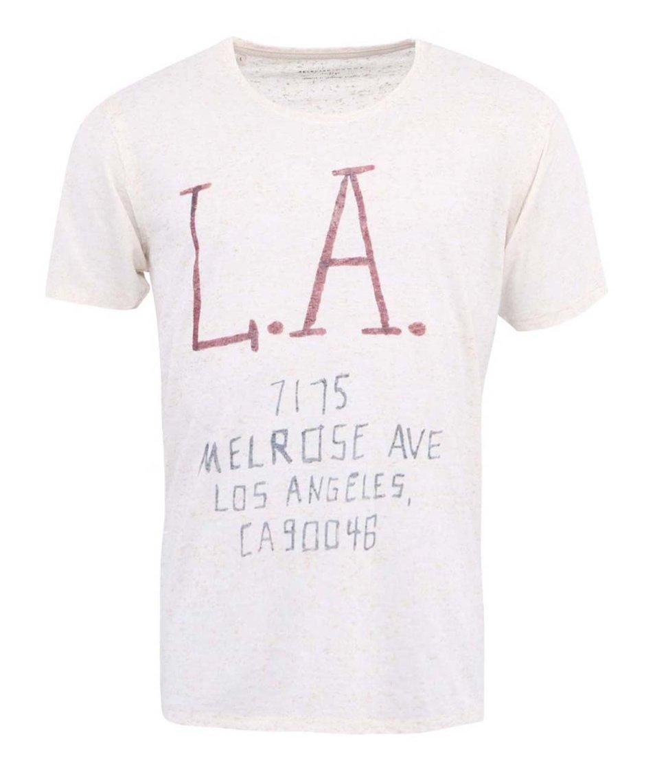Béžové triko s potiskem Selected Merlose